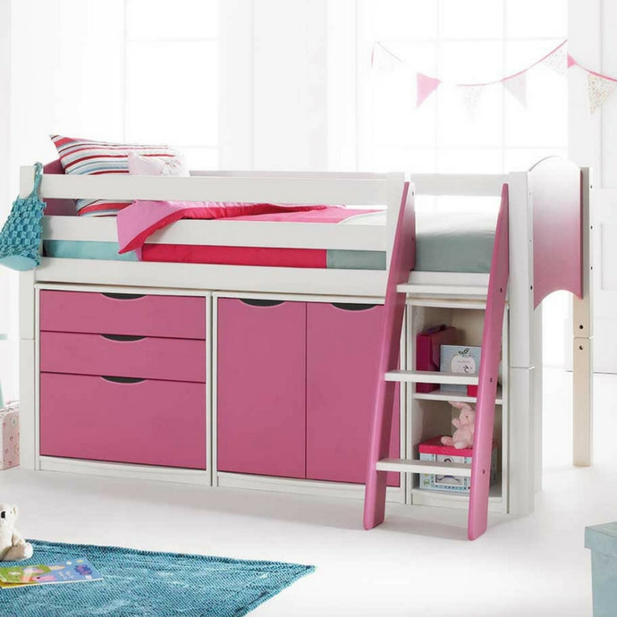 Scallywag Kids Cabin Bed Including 3 Drawer Chest, Cupboard and Narrow Shelf