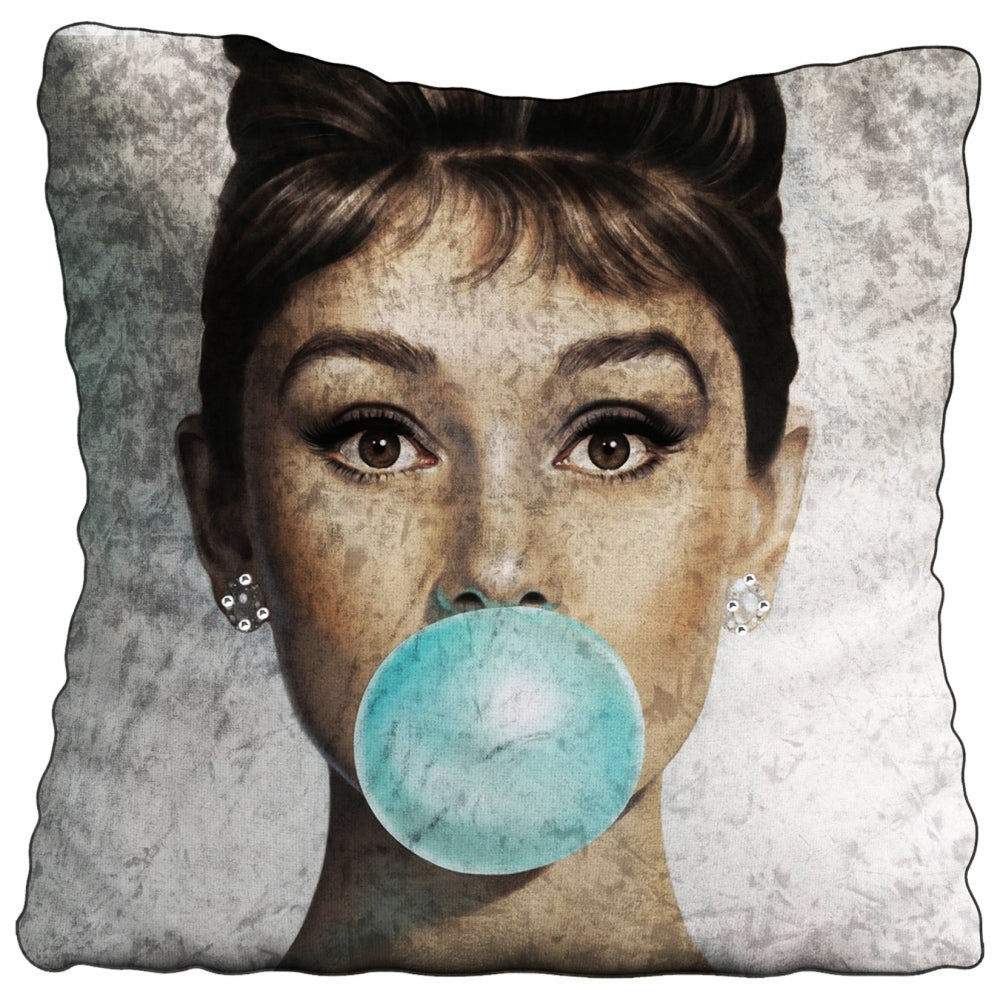 Audrey Bubblegum Crushed Velvet Cushion