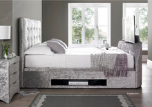 Richmond TV Bed in Crushed Velvet Silver
