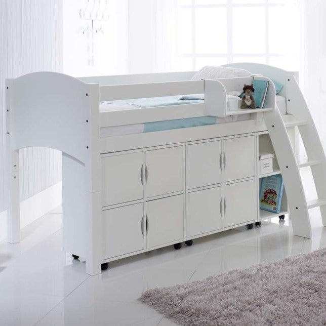 Scallywag Kids Cabin Bed Including 2 Quad Storage Units and Narrow Shelf