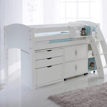 Scallywag Kids Midsleeper Cabin Bed Including 3 Drawer Chest, Quad Storage Unit and Narrow Shelf