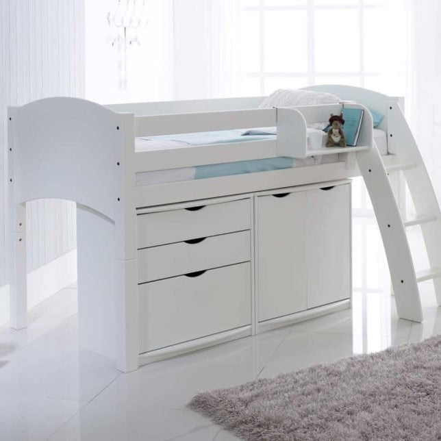 Scallywag Kids Midsleeper Cabin Bed Including 3 Drawer Chest and Wide Cupboard