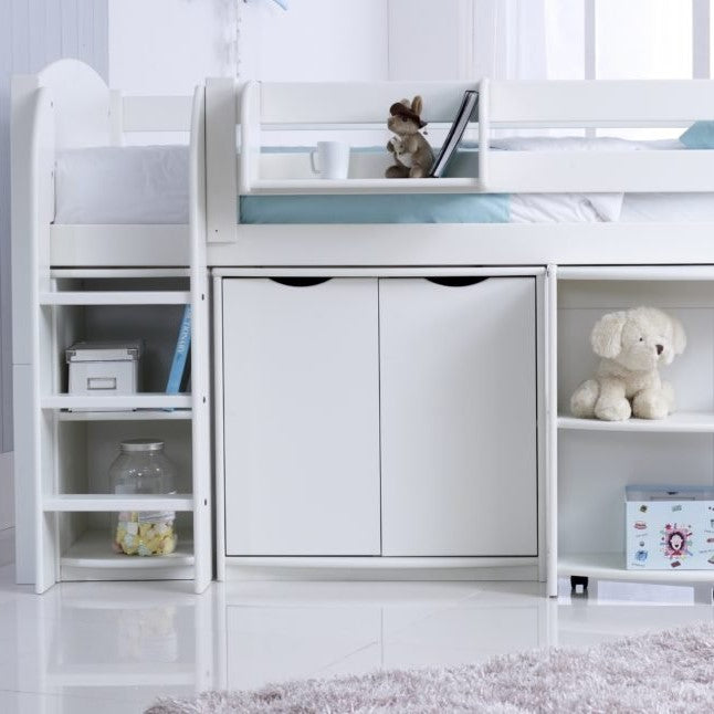 Scallywag Kids Midsleeper  Cabin Bed Including, Wide Cupboard, Pull out Desk and Narrow Shelf