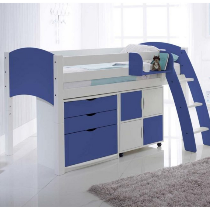 Scallywag Kids Midsleeper Cabin Bed Including 3 Drawer Chest and Quad Storage Unit