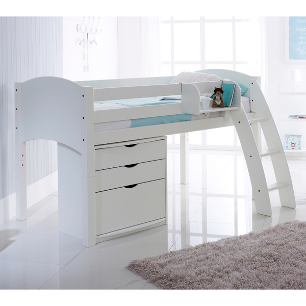 Scallywag Kids Midsleeper Cabin Bed Including 3 Drawer Chest and Hook On Shelf