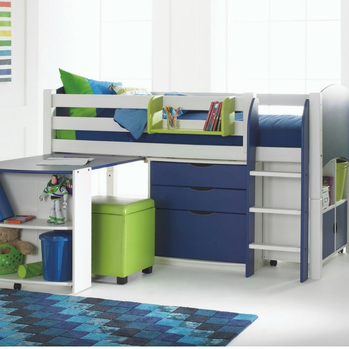 Scallywag Kids Contour Cabin Bed Including 3 Drawer Chest, Quad Storage Unit