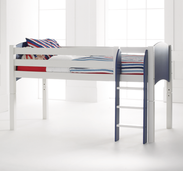 Cresta Scallywag Kids Cabin Bed with Straight Ladder Shown in Blue and White