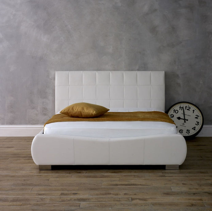 Abinger Bedstead in White Faux Leather