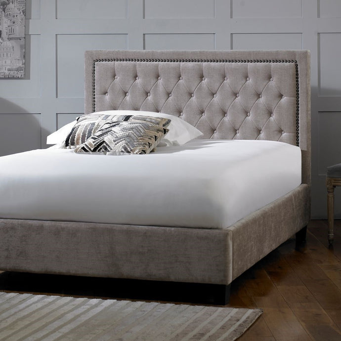 Langley Bedstead in Mink Velvet