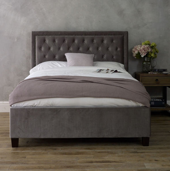Langley Bedstead in Silver Velvet