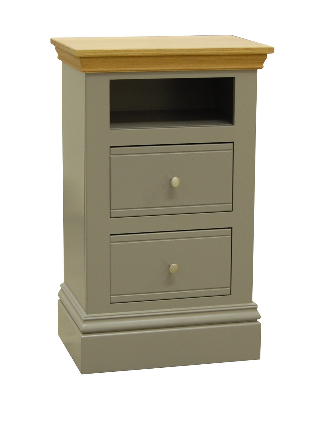TCBC New England 2 Drawer Open Shelf Bedside