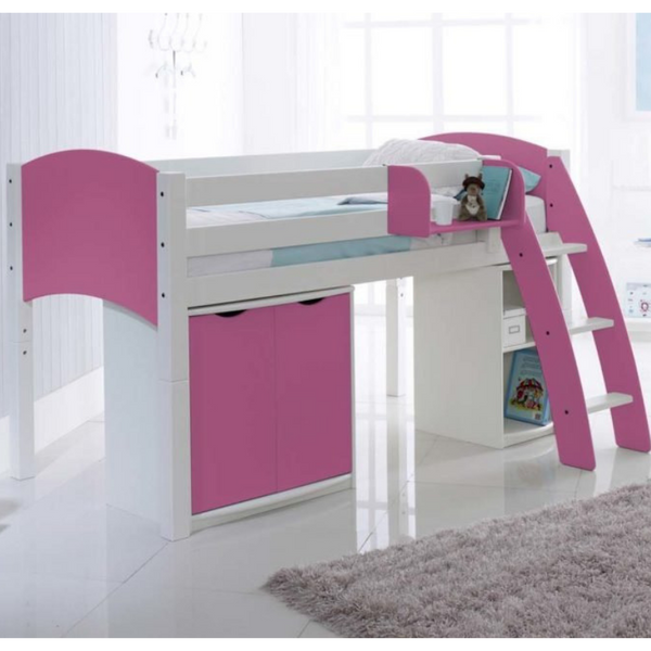 Scallywag Kids Midsleeper Cabin Bed Including Wide Cupboard and Narrow Shelf