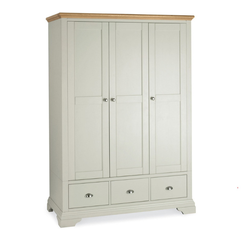 Kensington Soft Grey & Oak Triple Wardrobe