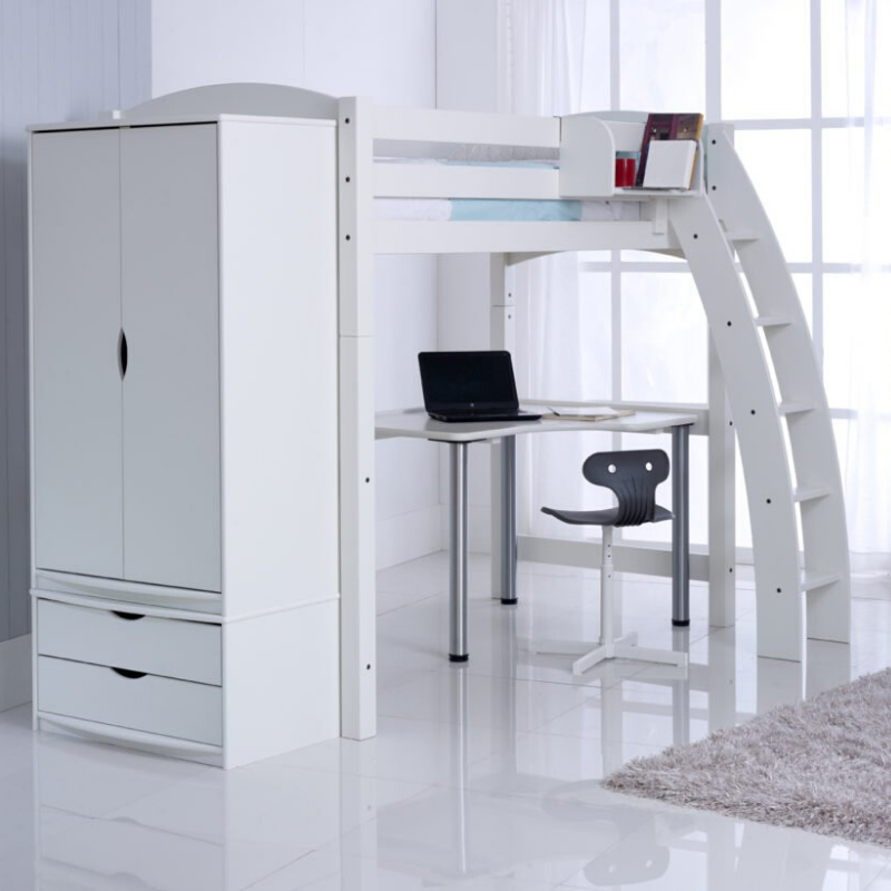 Scallywag Kids - High Sleeper package including Wardrobe, 2 Draw Chest & Free standing desk
