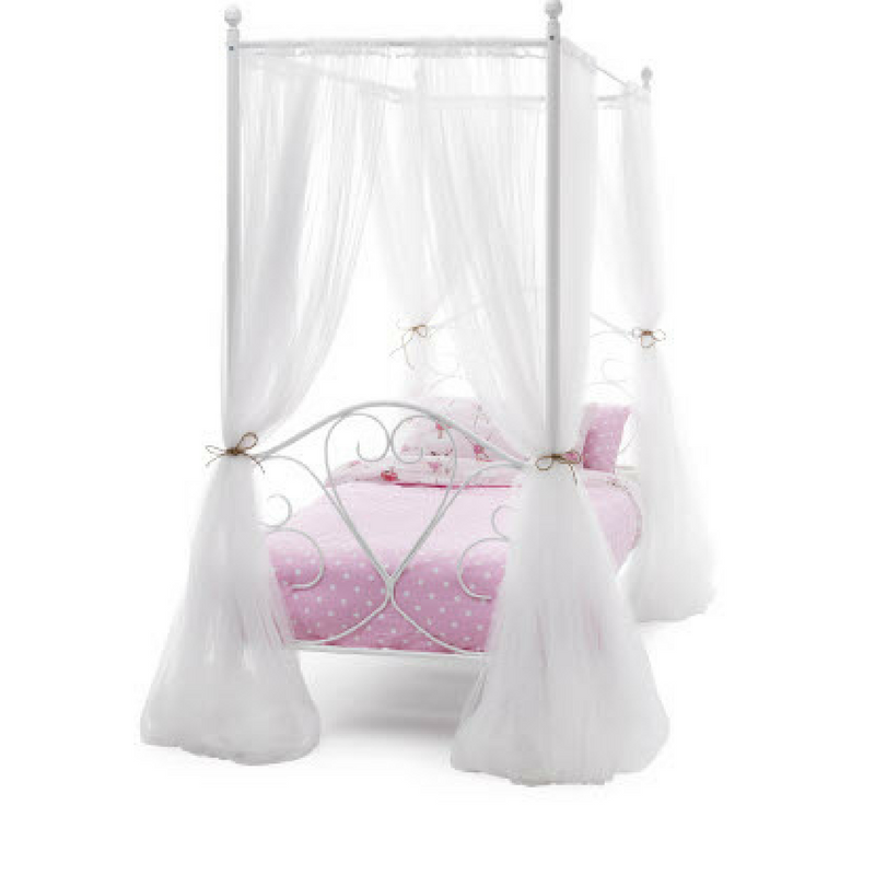 Serene Isabelle Four Poster Metal Bedstead in White Gloss