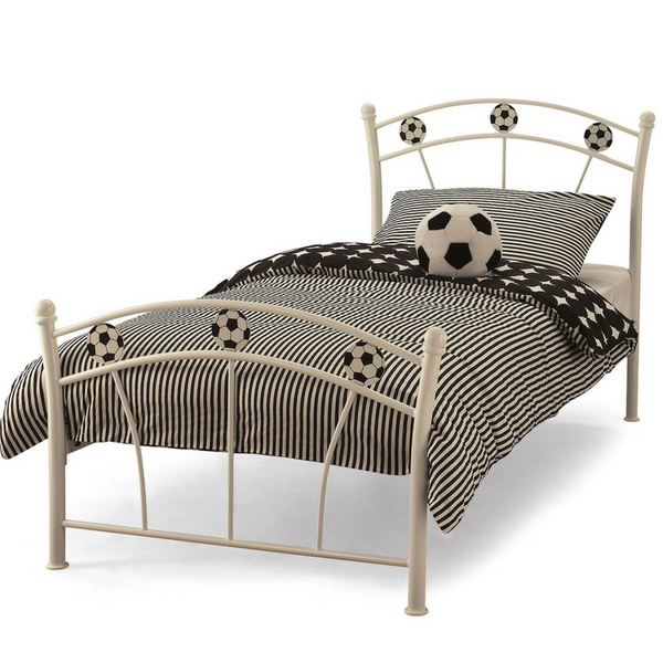 Serene Soccer Metal Bedstead in White Gloss
