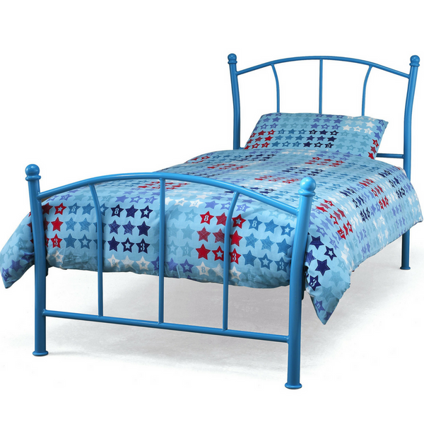 Serene Penny Metal Bedstead in Blue Gloss