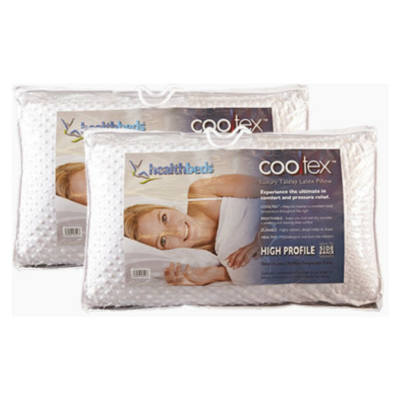 Cooltex Talalay Latex Pillow High Profile Pillow Pairs