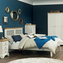 Kensington Slatted Soft Grey & Oak Bedstead
