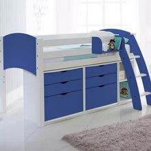 Scallywag Kids Contour Cabin Bed Including 2 Three Drawer Chests, Narrow Shelf and Hook on Shelf