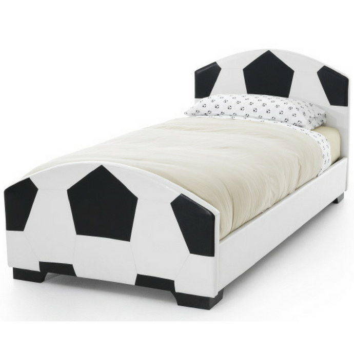 Serene Pallone Bedstead Faux Leather in Black & White