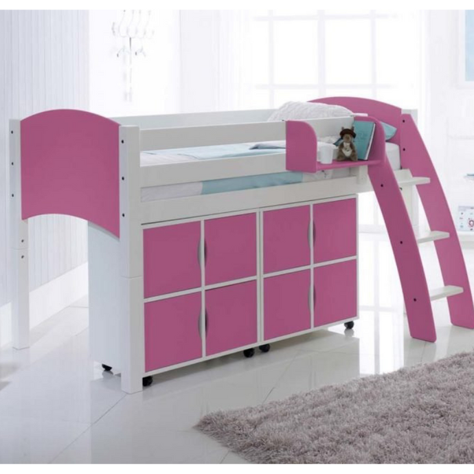 Scallywag Kids Midsleeper Cabin Bed Including 2 Quad Storage Units