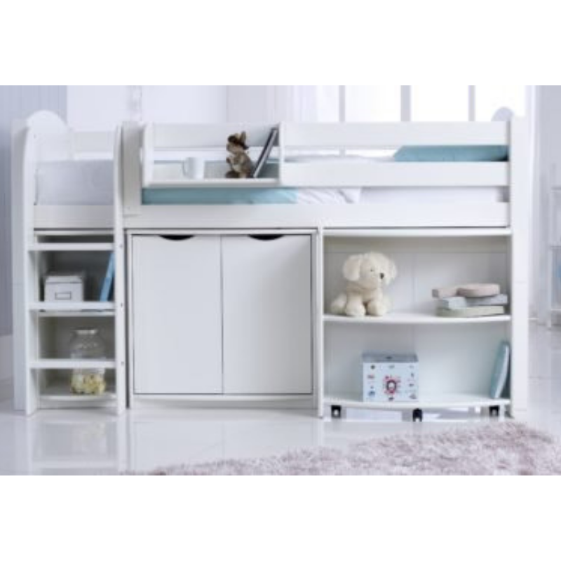Scallywag Kids Contour Cabin Bed Including, Wide Cupboard, Pull out Desk and Narrow Shelf