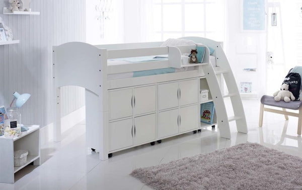 Scallywag Kids Contour Cabin Bed Including 2 Quad Storage Units and Narrow Shelf