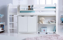 Scallywag Kids Contour Cabin Bed Including Cupboard, Pull Out Desk and Hook on Shelf