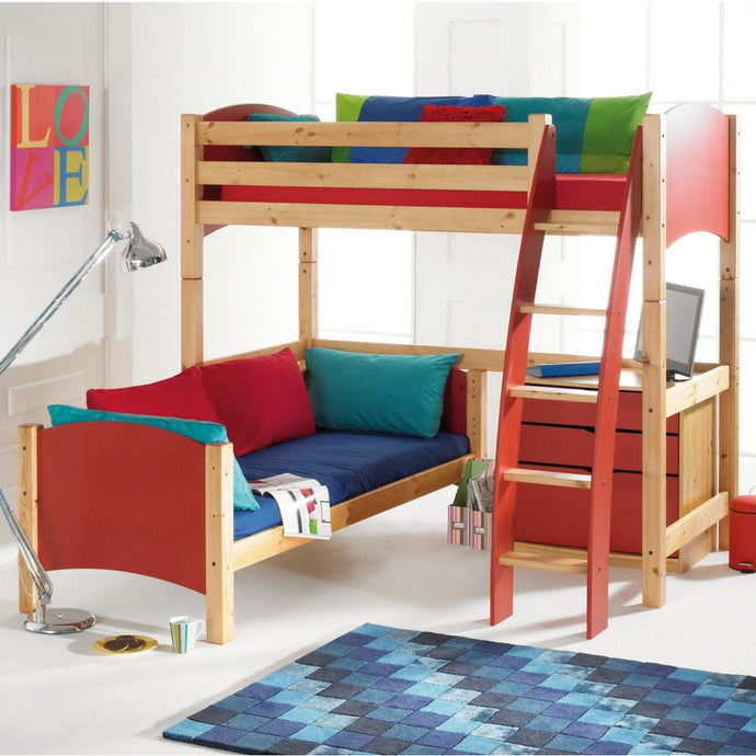 Scallywag Kids L Shaped High Sleeper Bunk Bed