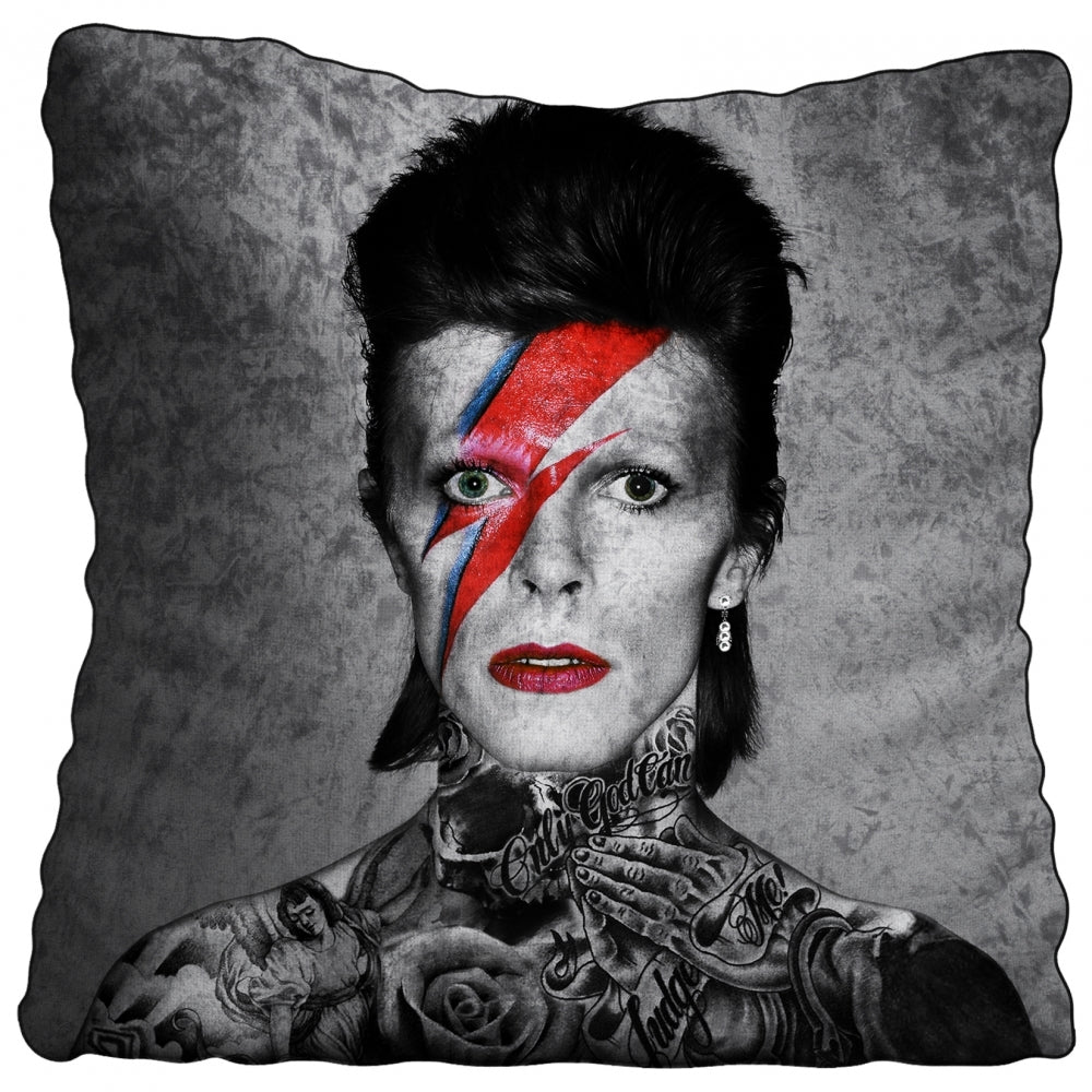 Bowie Tattoo Crushed Velvet Cushion