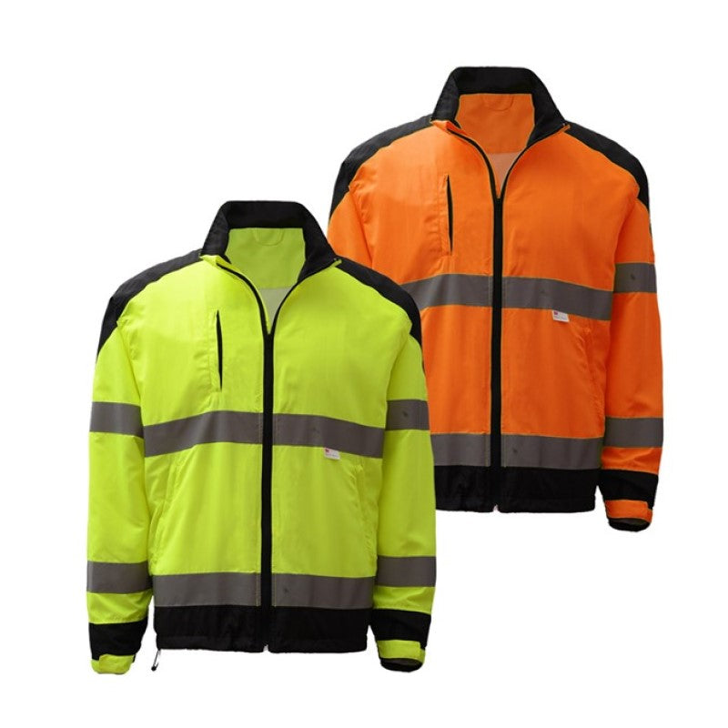 Safety Premium Class 3 Zipper Windbreaker Jacket W/ Black Bottom