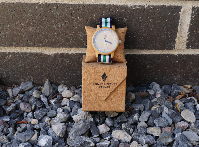 Eco bamboo unisex watch with striped band by Jennifer Reeves Designs