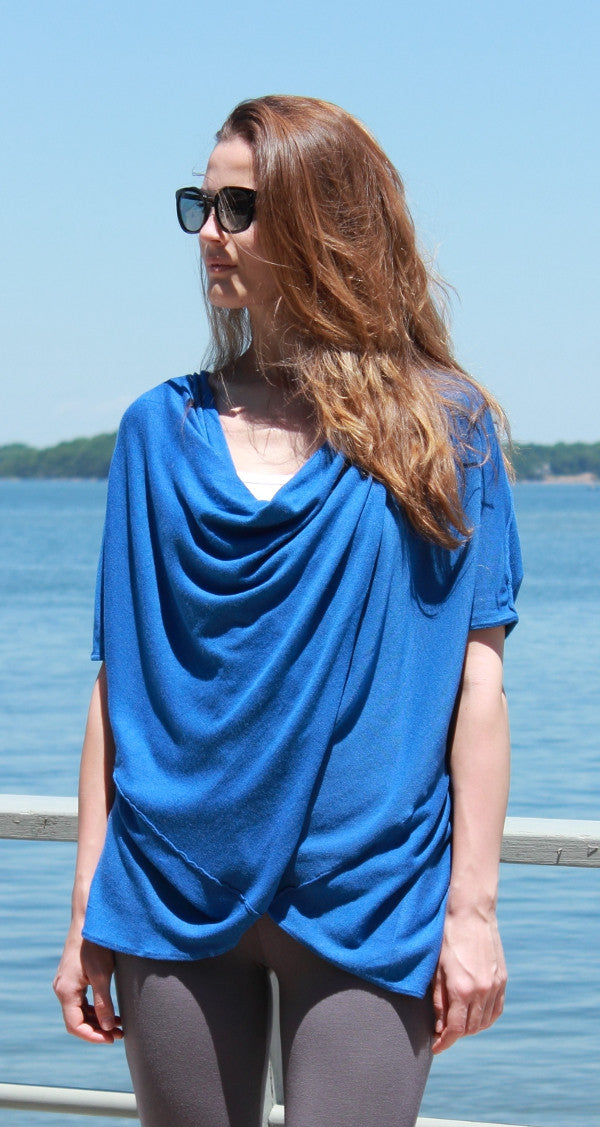 Heather Royal Blue Twisted front  Sweater