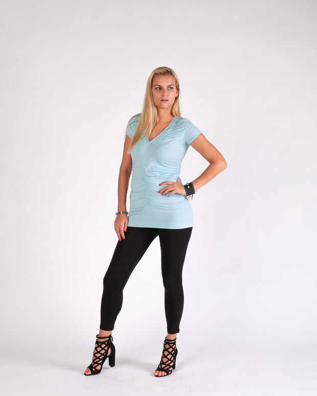 Ruched V neck Tee by Survival