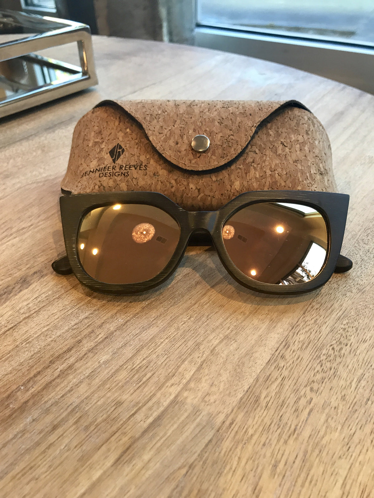 Cat eye bamboo sunglasses by Jennifer Reeves Designs