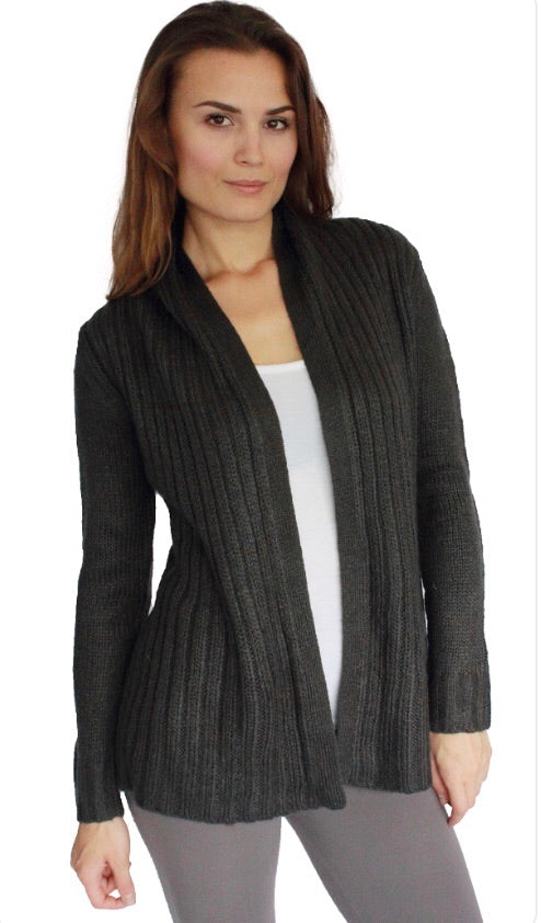 Astoria Soft ribbed cardigan with cinched waist