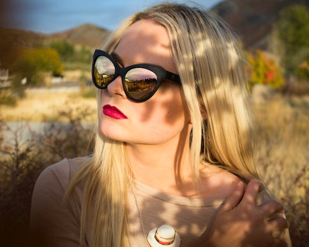 Fox eye bamboo sunglasses by Jennifer Reeves Designs