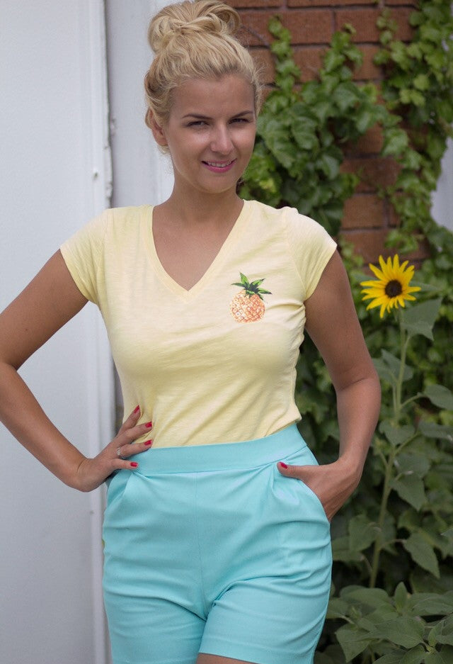 Yellow V-neck tee with pineapple by Fashion.Love.Story