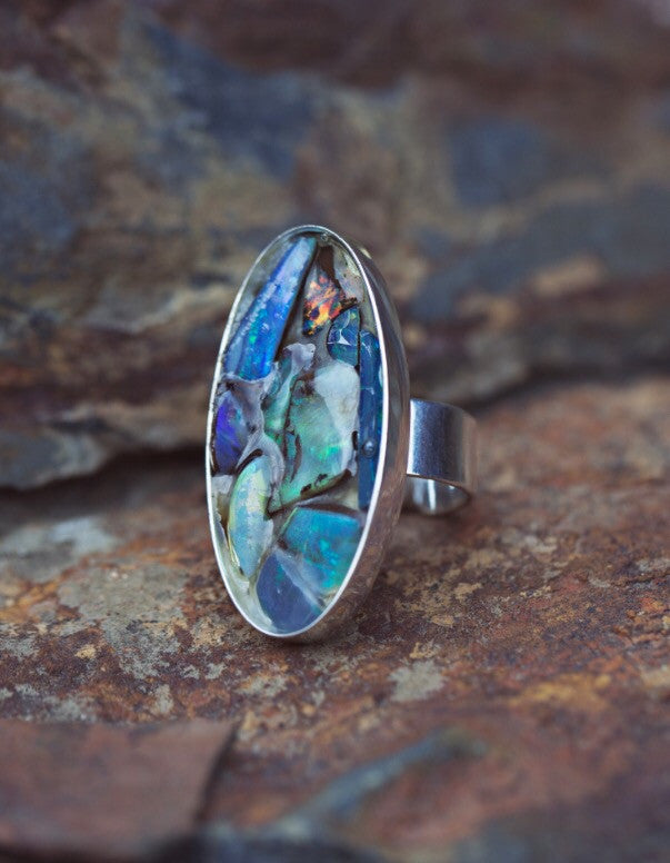 Eco Australian Opal ring by Jennifer Reeves Designs