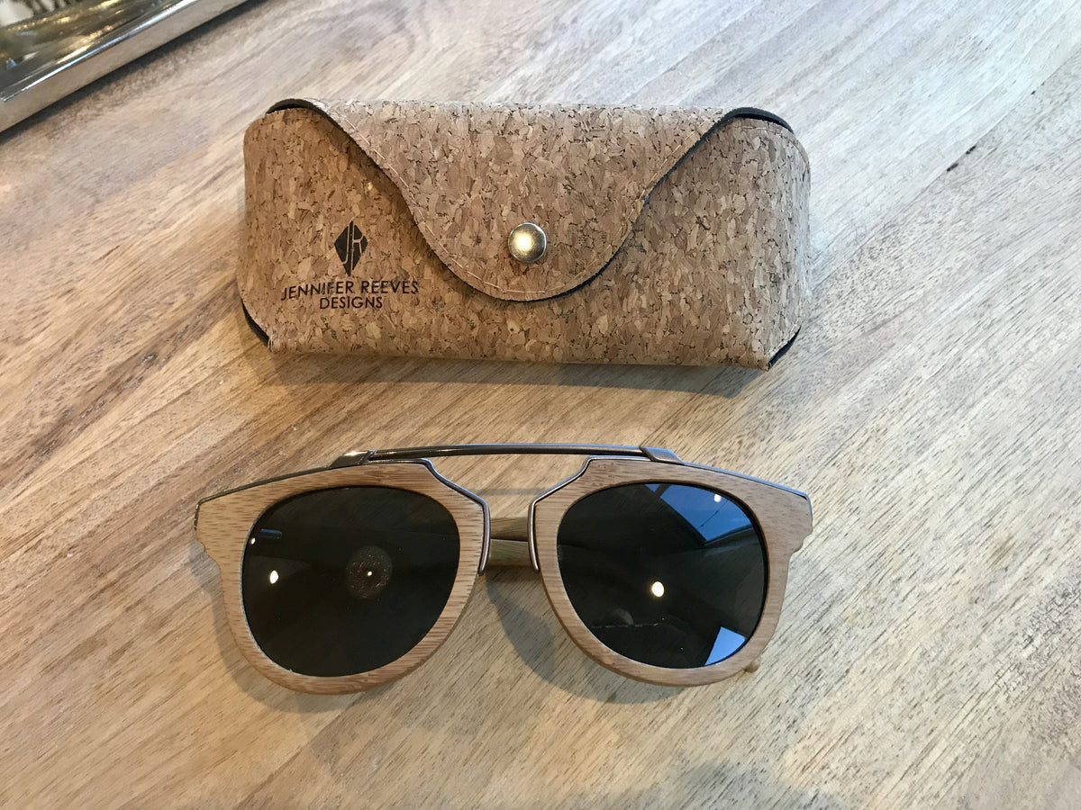 Bamboo sunglasses with metallic detail