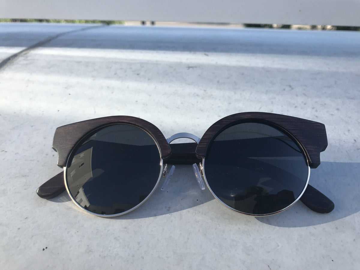 Brown bamboo sunglasses by Jennifer Reeves Designs