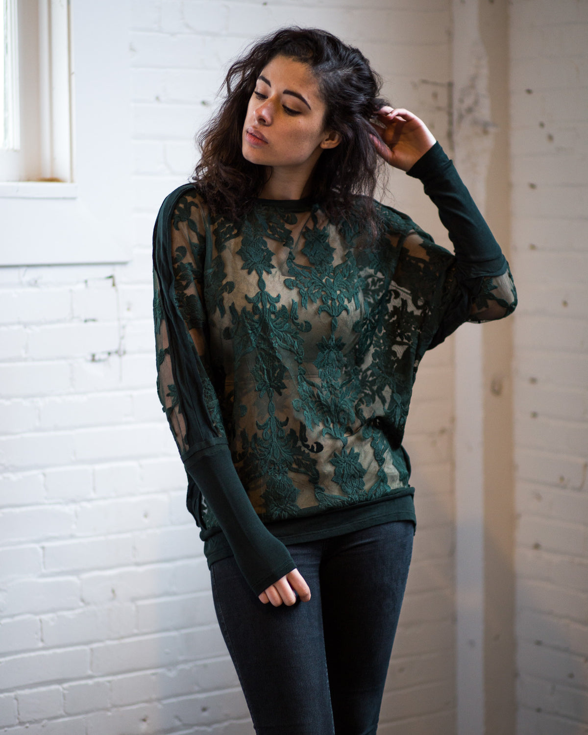 Batwing long sleeve lace top by NU Denmark