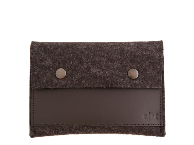 FELT AND LEATHER PASSPORT WALLET - Charcoal/Black