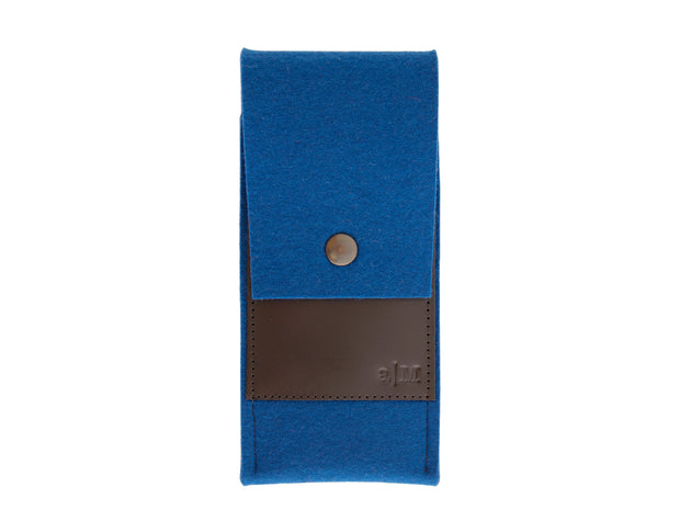 FELT AND LEATHER CASE - Blue/Black