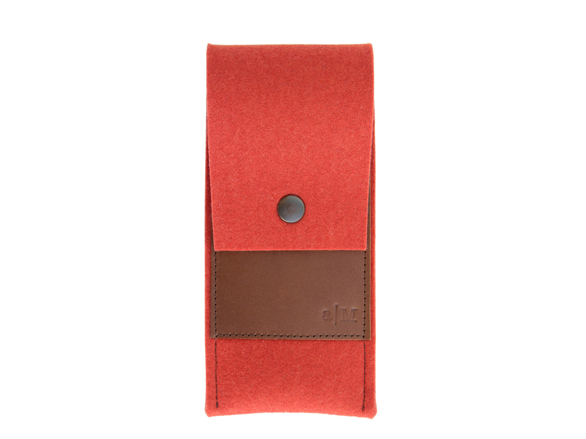 FELT AND LEATHER CASE - Terracotta/Brown