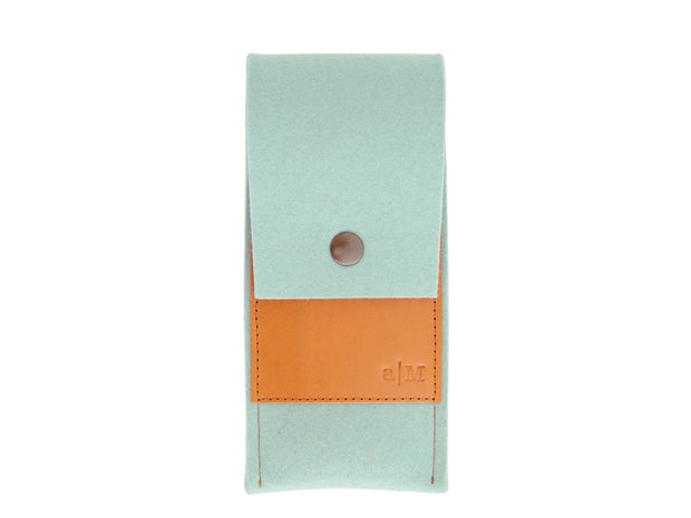 FELT AND LEATHER CASE - Turquoise/Tan
