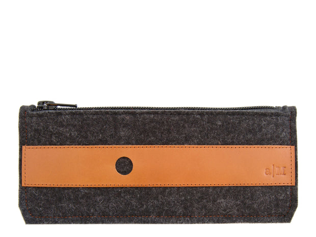 FELT AND LEATHER PENCIL CASE - Charcoal/Tan