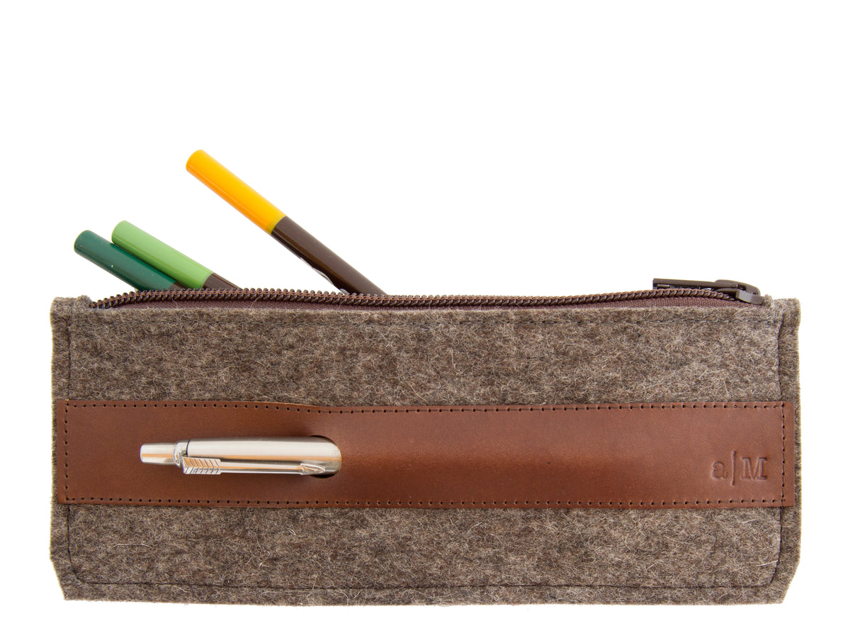FELT AND LEATHER PENCIL CASE - Grey/Brown