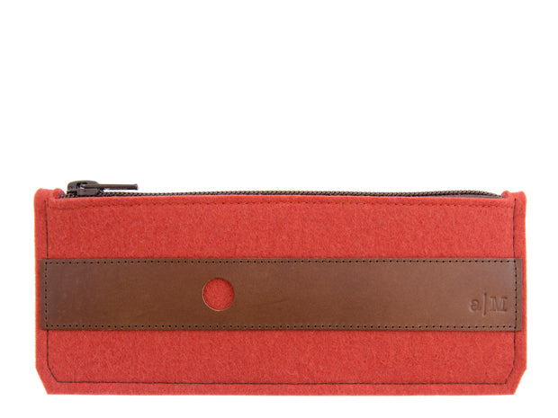 FELT AND LEATHER PENCIL CASE - Terracotta/Brown